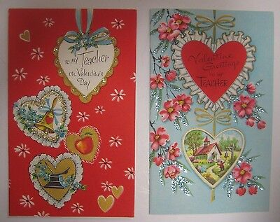 Vintage 1940's Lot of 2 Teacher's GLITTERED Valentine's Day Cards GOLD & BLUE