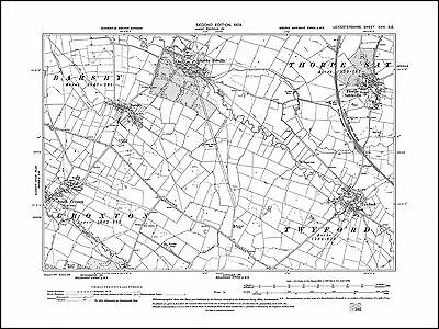 Ashby Folville, Thorpe Satchville in 1904 - old map Leicestershire 26SE repro