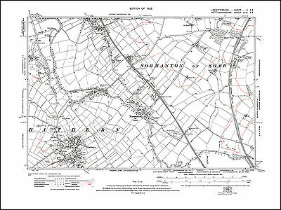 Hathern 1922 - old map Leicestershire 10SE repro