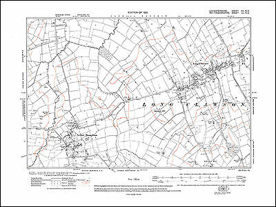 Long Clawson, Nether Broughton in 1921 - old map Leicestershire 12NE repro