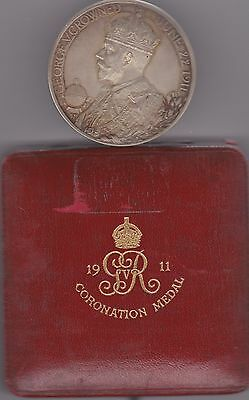 Boxed 1911 Coronation Silver Medal 51Mm Diameter In Near Mint Condition