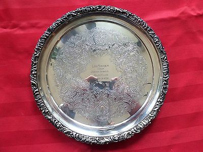 Rare Lou Snider commemorative silver plate / platter with inscription