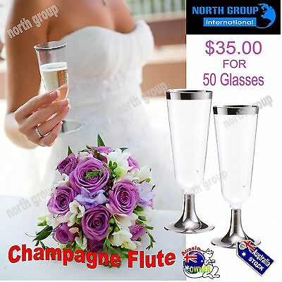 Wedding Birthday BBQ Parties DISPOSABLE PLASTIC CHAMPAGNE WINE FLUTES GLASSES