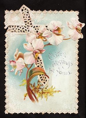c.1890 phalaenopsis orchids cross victorian easter card