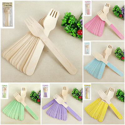 Wooden Cutlery Utensils Forks x 12 Cutlery Eco Wood Natural Wedding Party Table