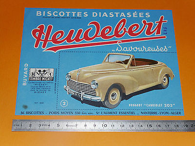 Buvard Heudebert Biscottes Diastasees Automobile Cabriolet Peugeot 203 Mickey
