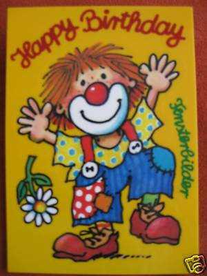Clown Happy Birthday Fensterbild Postkarte Lutz Mauder neu
