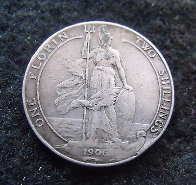 1906 Two Shillings Edward VII Florin Britiish Coin Scarce date nice condition VF