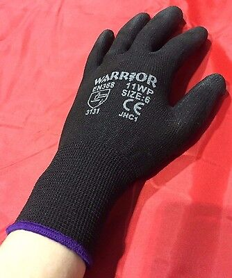 BLACK NYLON PU COATED GRIP Safety Work Gloves Builders Construction Mechanic