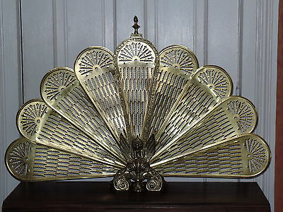 Antique Solid Brass Fireplace Screen Winged Griffins On Base Peacock Style Fan