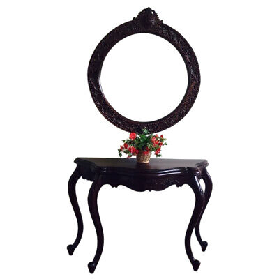 Solid Mahogany Wood Hall Table & Mirror Serpentine Antique Reproduction Style