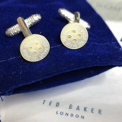 TED BAKER Cufflinks MOTHER OF PEARL SHIRT BUTTONS Silver Plated Cuff Links + BAG