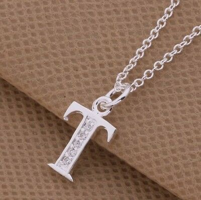 925 Sterling Silver LETTER T Swarovski Crystal Pendant Charm Necklace Chain Gift
