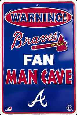 "ATLANTA BRAVES SIGN WARNING BRAVES FAN MAN CAVE METAL PARKING SIGN 8""x 12"""