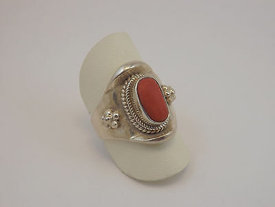 Anello Etnico Argento E Corallo Silver Ring  Natural Sea Coral