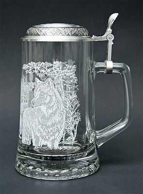 WOLF Etched Glass German Beer Stein w/ Pewter Wolf Head Glass Beer Mug