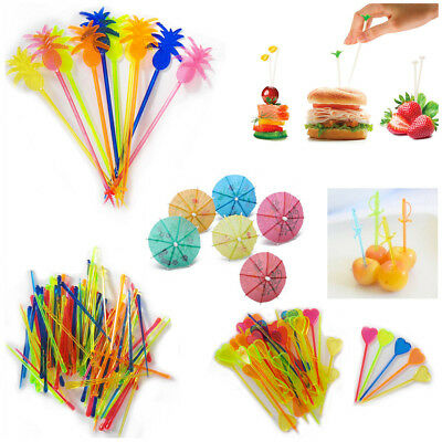 Cocktail Sticks Picks Colourful Party Buffet Drinking Stirrer Drink Fruit Decor