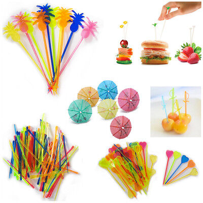Trendy Cocktail Sticks Picks Colourful New Plastic Party Buffet Drinking Stirrer