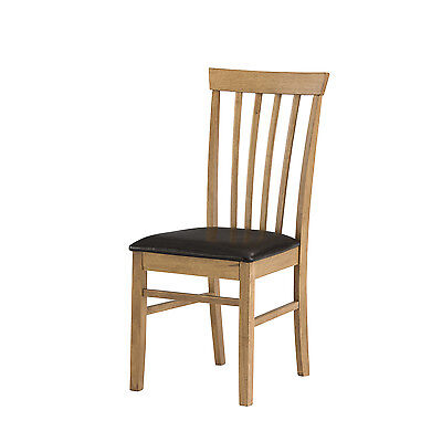 Mood Warm Oak Kitchen Dining Chair with Dark Brown Leatherette Seat