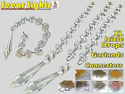 """Xl Torpedo 5"""" Chandelier Drops Glass Crystals Icicle Light Antique Spec Droplets"""