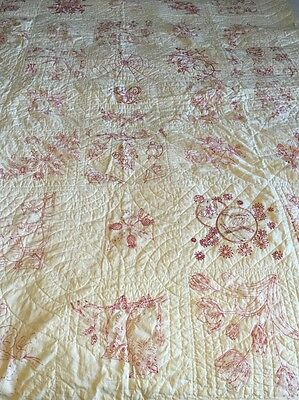 "Vintage Handmade Embroidered Red Penny Square Quilt 66"" x 81"" Redwork 83 Years"