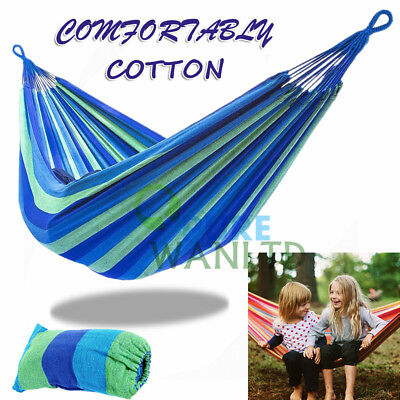 200KG Double Cotton Blue Hammock Air Chair Hanging Swinging Camping 300*150cm AU