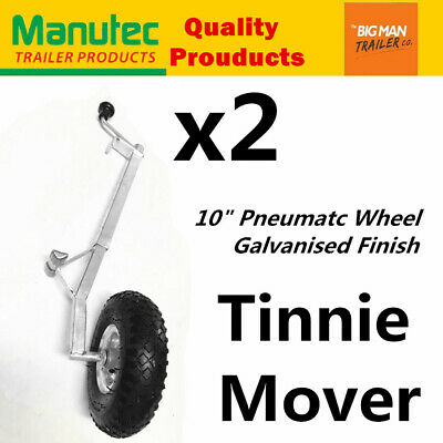 2x Manutec Pneumatic Trailer Jockey Tinnie Wheels Dolly Dinghy Wheel Galvanised