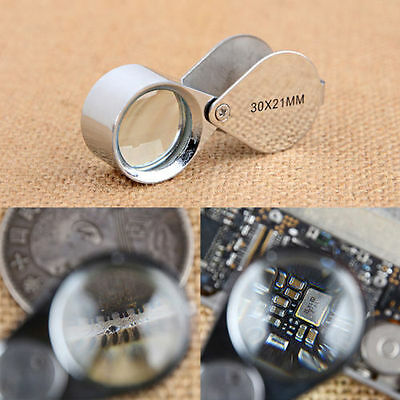 Water Droplets Shape 30X-21MM lighted Magnifying Magnifier Glass Lens Folding