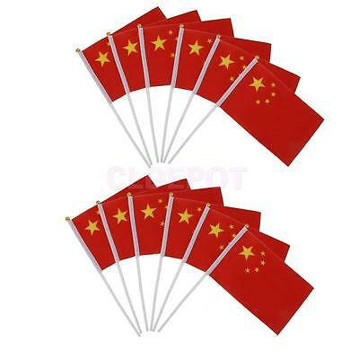 """12 CHINA Polyester HAND WAVING FLAGS 8""""X5"""" w pole CHINESE BEIJING COMMUNIST"""