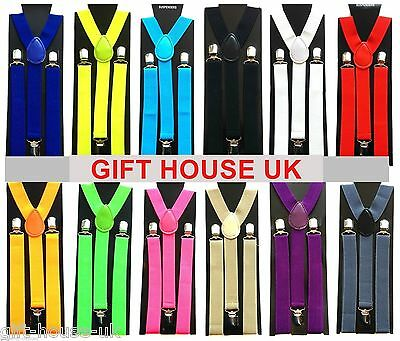 Adjustable Braces Mens Womens Unisex Trouser Elastic Y-Back Suspenders Clipon Bb