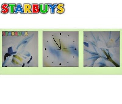 Set of 3 Panel Canvas Wall Art Flowers Large Prints With Working Clock 30x30cm