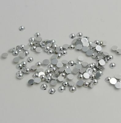 400pcs Half Pearl Round Bead Flat Back 3mm Scrapbook for Craft FlatBack silver .