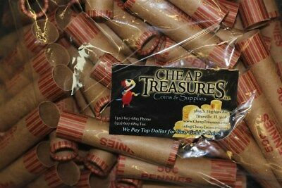 (100) Cent Penny Nf String Preformed Shotgun Coin Wrappers Wrapping Rolls