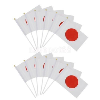 "12 Japan Hand Waving Flags Japanese National Flag 8"" x 5"" With Plastic Pole"