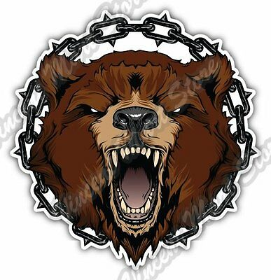 """Grizzly Bear Head Angry Chains Wild Life Car Bumper Vinyl Sticker Decal 4.6"""""""