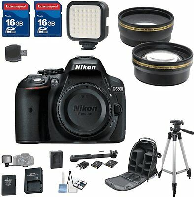 Nikon D5300 DX Digital SLR Camera (Body Only) + 2pc 16GB Memory Cards + Bundle