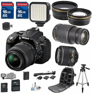 Nikon D5300 DX Digital SLR Camera with 18-55mm VR II + 55-200mm VR II + Bundle