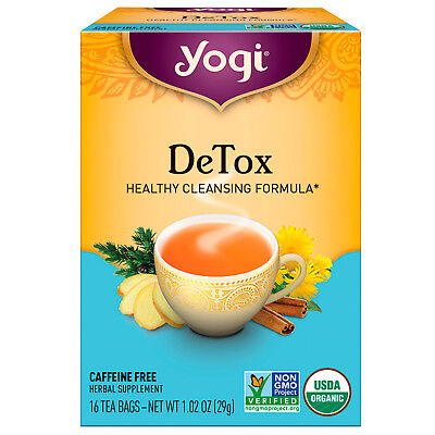 "CERTIFIED ORGANIC YOGI TEA "" DETOX "" CLEANSING HERBAL CAFFEINE FREE x 16 BAGS"