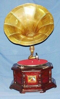 Hmv Wind Up Octagonal Gramophone Brass Horn Colectable  & *free Old Rcord*..