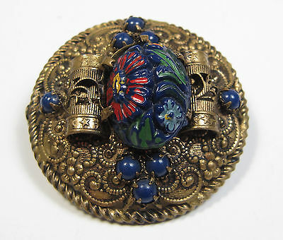 Antique Victorian Brass Brooch Navy Blue Molded Glass Painted Enamel Dome Pin