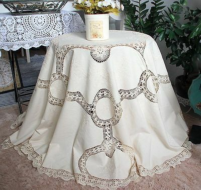 Skilful Fine Yarn Hand Crochet Rose Embroidery Beige Cotton Round Table Cloth XL