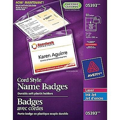 """Avery Cord Style Name Badges 05393 Durable Soft Plastic Holders 50 Badges 4""""x3"""""""
