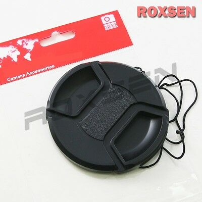 49mm center pinch snap on Front Lens Cap Cover for Canon Nikon Sony w string CA