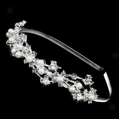 Wedding Bridal Bridesmaid Crystal Pearls Headband Tiara Headpiece Jewelry