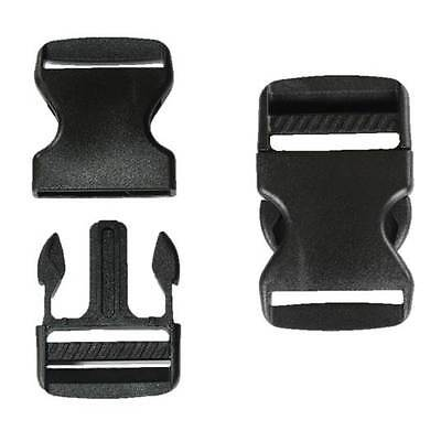 38mm Black Plastic Side Quick Release Buckle Clip – Cord Strap Backpack Bag RE