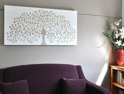 Natures Gift-Large Wooden Wall Art Single Panel-White + Carved Timber Leafy Tree