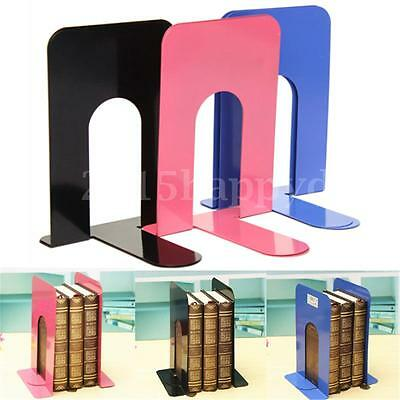 2x L-Shape Heavy Duty Metal Bookends Book Holder Home Office Supplies Stationery
