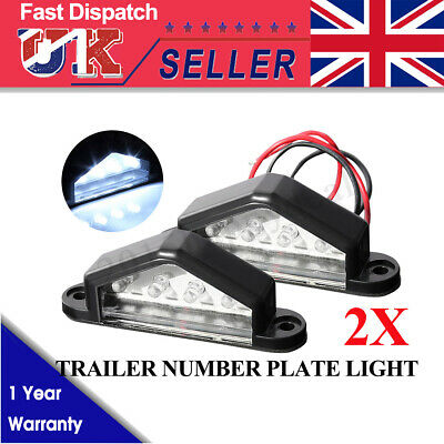 2X 12V Led License Number Plate Light Tail Rear Lamp Truck Trailer Lorry Van Car