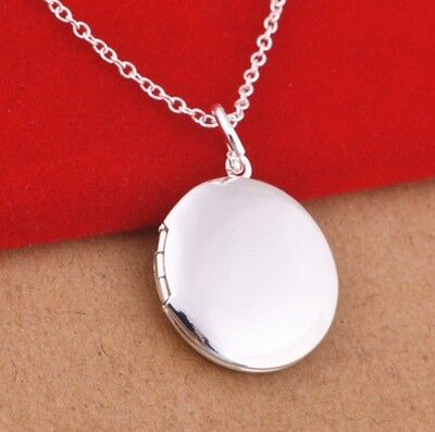 925 Sterling Silver Round Plain Locket Photo Pendant Charm Necklace Chain Gift