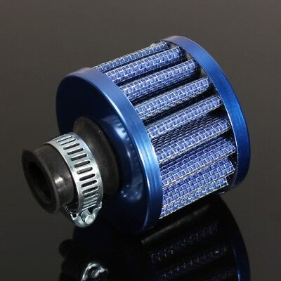 Universal 12mm Oil Mini Breather Cold Air Filter Fuel Crankcase Engine Car Blue